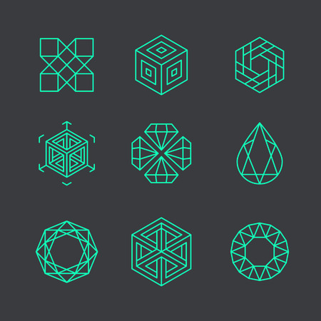 Vector abstract modern logo design templates in trendy linear style - cubes and diamonds - minimal geometric concepts and badges