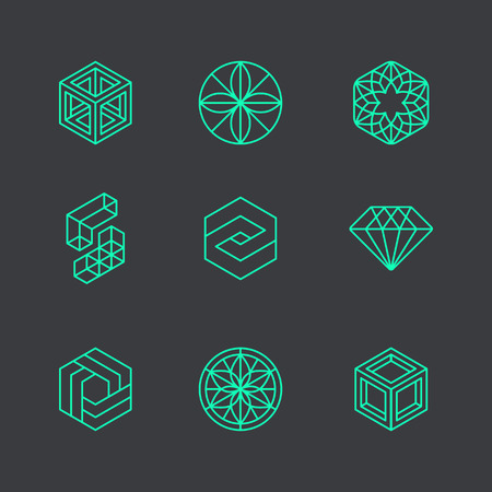 Vector abstract modern logo design templates in de trendy lineaire stijl - blokjes en diamanten - minimale geometrische concepten en badges