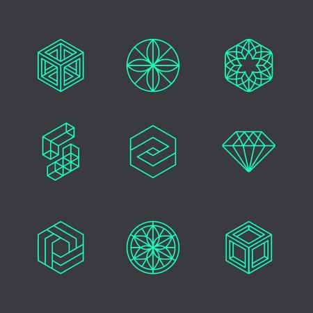 Vector abstractas modernas plantillas de diseño de logotipo en el estilo lineal de moda - cubos y diamantes - conceptos geométricos mínimos e insignias
