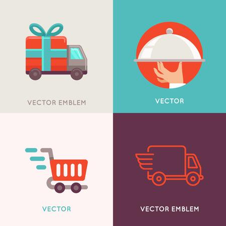 Vector abstract logo design templates in vlakke stijl - de levering en de scheepvaart service, eten catering en verhuisbedrijf Stockfoto - 52336578