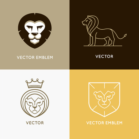 lions: Vector set of lion logo design templates and ebmlems in trendy linear style - power and security concepts
