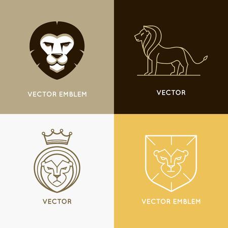 couronne royale: Vector set of lion logo modèles de conception et ebmlems dans un style à la mode linéaire - concepts de puissance et de sécurité Illustration