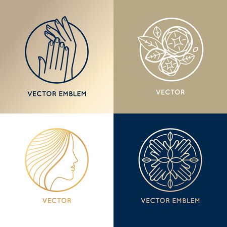 beauty saloon: Vector set of linear logo design templates and icons - female beauty, nail and hair salons concepts Illustration