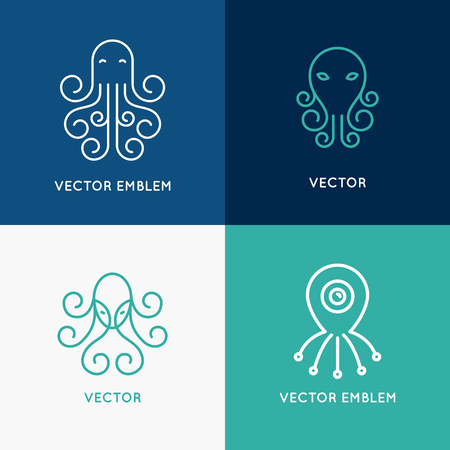 Vector set of abstract logo design templates in trendy linear style - octopus emblems