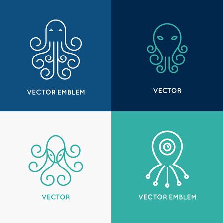 Vector conjunto de plantillas de diseño de logotipo abstracto en el estilo lineal de moda - emblemas de pulpo Logos