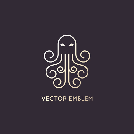 devil fish: Vector abstract logo design template in trendy linear style - octopus emblem