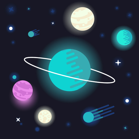 orbital: Vector abstract space background  with planets and stars on dark background - universe concepts