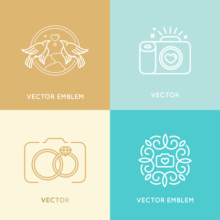 Vector set of wedding photography logo design templates in trendy linear style - studio and fashion photographers badges and labels Illustration