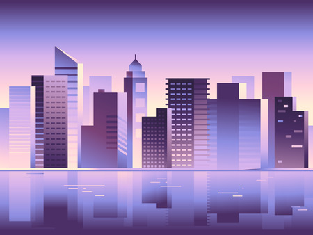 landscape architecture: Vector abstract city landscape in bright gradient colors - building and architecture illustrations for splash screens for apps, banners for websites, business concepts
