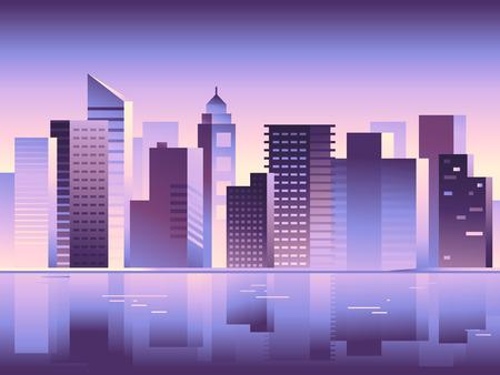 Vector del paisaje de la ciudad abstracta en colores brillantes gradiente - Construcción ilustraciones para pantallas de inicio de aplicaciones, banners para páginas web, conceptos de negocio
