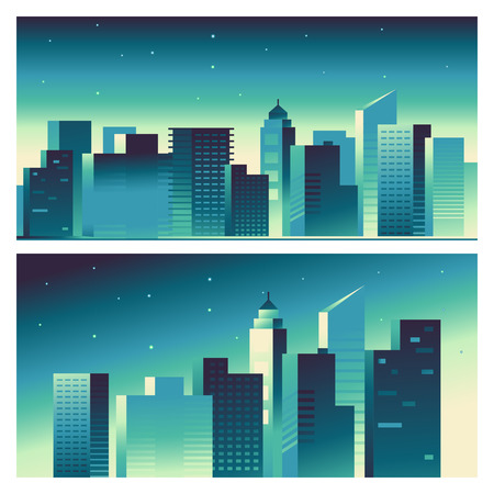 Vector abstract city landscape in bright gradient colors - building and architecture illustrations for splash screens for apps, banners for websites, business concepts