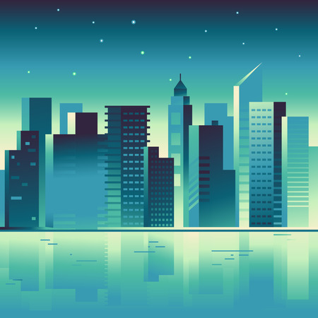 city building: Vector abstract city landscape in bright gradient colors - building and architecture illustrations for splash screens for apps, banners for websites, business concepts