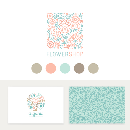Vector set design templates, seamless patterns and signs for identity, business cards and packaging - floral shops, beauty and spa studios