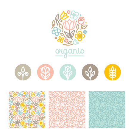 Vector design templates, seamless patterns and signs for identity, business cards and packaging - floral shops, beauty and spa studios