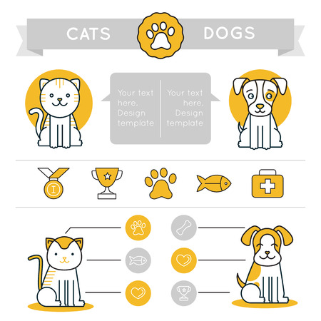Vector infographics design elements, icons and badges - cats vs dogs - comparison of different pets - graphic design template for websites and prints  イラスト・ベクター素材