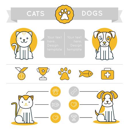 Vector Infografiken Design-Elemente, Symbole und Abzeichen - Katzen vs Hunde - Vergleich verschiedener Tiere - Grafik-Design-Vorlage für Websites und Drucke
