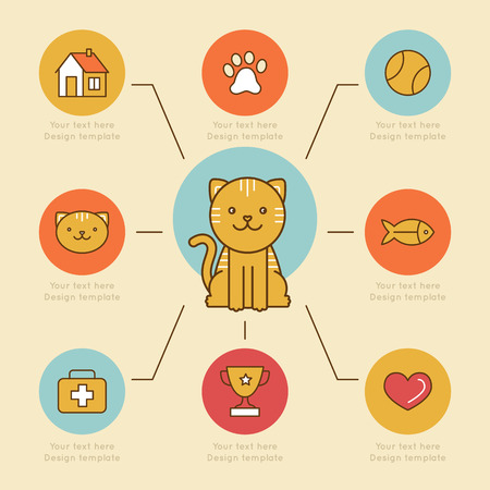 Vector infographics design elements, icons and badges in bright colors and flat line style - cat care and health - design template for prints and veterinary clinic websites Иллюстрация