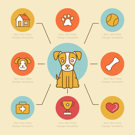 infografía vector elementos de diseño, iconos e insignias de colores brillantes y estilo de línea plana - el cuidado del perro y la salud - plantilla de diseño de sitios web de las clínicas veterinarias y grabados Ilustración de vector