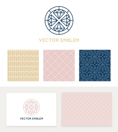 minimal: Vector set of graphic design elements, logo design templates and seamless patterns in trendy linear and minimal style - business card templates for beauty and spa studios, florist and wedding services Illustration
