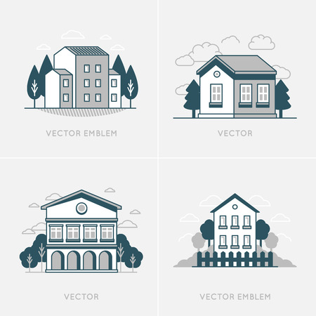 shanty: Vector graphic design and logo design template - real estate concepts in trendy linear style - houses and buildings