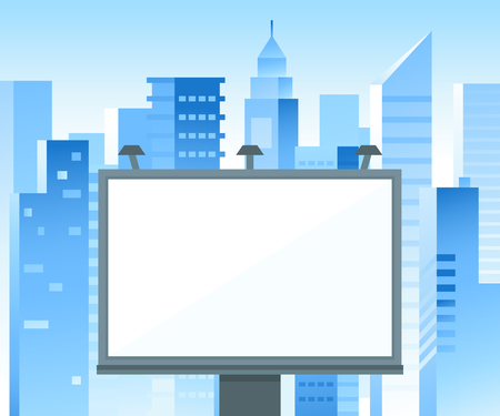 advertising space: Vector billboard sign with copy space for text and advertising - illustration in blue colors with city landscape