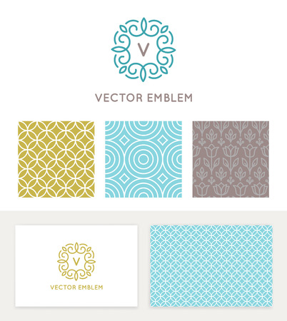 Vector set of graphic design elements, logo design templates and seamless patterns in trendy linear and minimal style - business card templates for beauty and spa studios, florist and wedding services Çizim