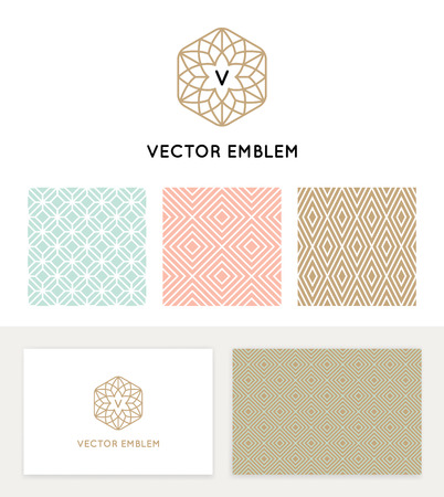 Vector set of graphic design elements, logo design templates and seamless patterns in trendy linear and minimal style - business card templates for beauty and spa studios, florist and wedding services Vettoriali