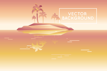 pal: Vector abstract landscape in low poly style in bright gradient colors - modern background with copy space for text - island with palm trees