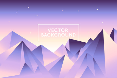 low poly: Vector abstract landscape in low poly style in bright gradient colors - modern background with copy space for text - mountains