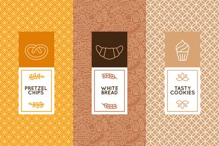 デザイン テンプレートとトレンディな直線的なスタイルのパン屋さんの包装のための要素のベクトルを設定
