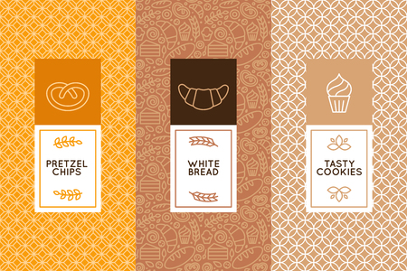Vector set of design templates and elements for bakery packaging in trendy linear style Ilustração