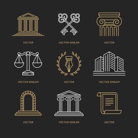 Conjunto de vectores plantillas de diseño en el estilo lineal de moda - policía y justicia conceptos Ilustración de vector