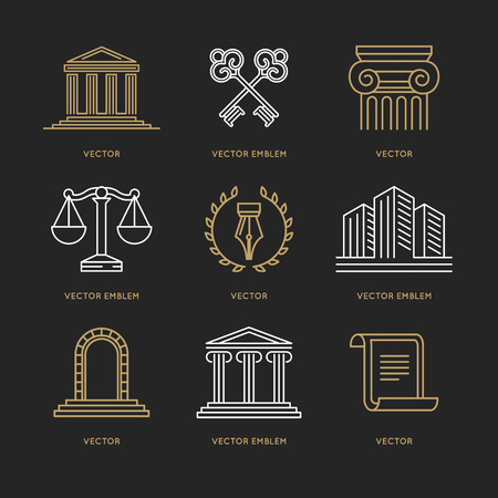 advocate: Vector set  design templates in trendy linear style - law and justice concepts