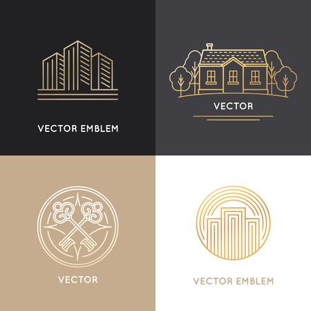 Vector logo immobilier modèles de conception dans le style tendance linéaire - maisons et bâtiments Banque d'images - 52349993
