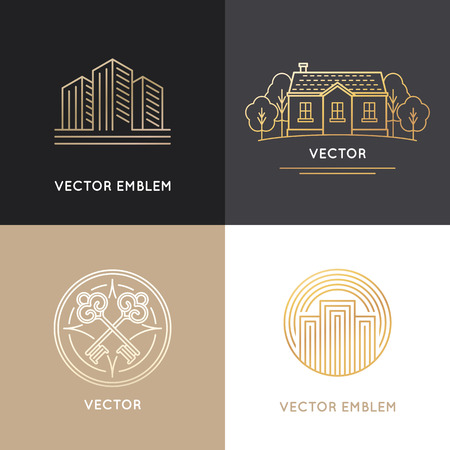 villas: Vector real estate logo design templates in trendy linear style - houses and buildings