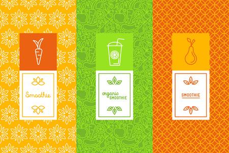 一連のデザイン要素、アイコンおよび手レタリングでトレンディな直線的なスタイルのロゴのデザイン テンプレートとパッケージの概念とフレッシュ ジュースのラベル ダイエット健康食品とスムージーをベクトルします。