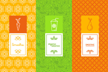 Vector set of design elements, icons and hand-lettering in trendy linear style - logo design templates and concepts for packaging and labels for fresh juices, diet smoothie and healthy food Ilustracja