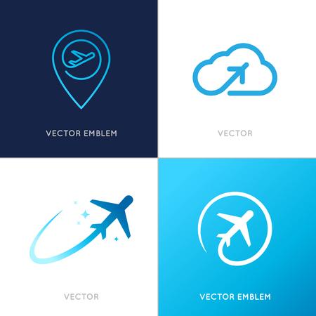 reizen: Vector logo design templates voor luchtvaartmaatschappijen, vliegtuig tickets, reisbureaus - vliegtuigen en emblemen Stock Illustratie