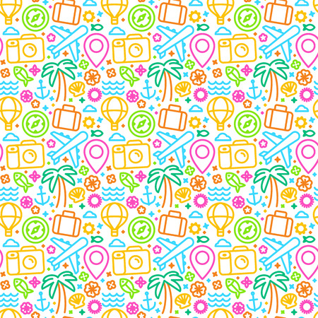 travel agencies: Vector seamless pattern with linear icons and signs related to travel and sea - abstract texture and background for travel agencies websites and banners - summer bright pattern Illustration