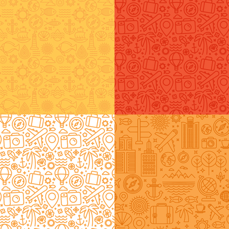 travel agencies: Vector seamless patterns with linear icons and signs related to travel and sea - abstract textures and backgrounds for travel agencies websites and banners Illustration
