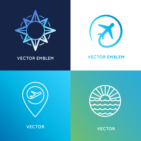 Vector logo design templates in trendy lineaire stijl met pictogrammen - reisbureau emblemen en gids concepten