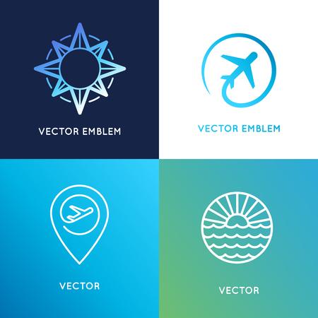 Vector Logo-Design-Vorlagen in trendy linearen Stil mit Symbolen - Reisebüro Embleme und Reiseleiter Konzepte