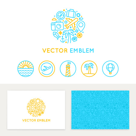tourism: Vector logo template, business card design and linear emblems and icons - travel agency and tour guide