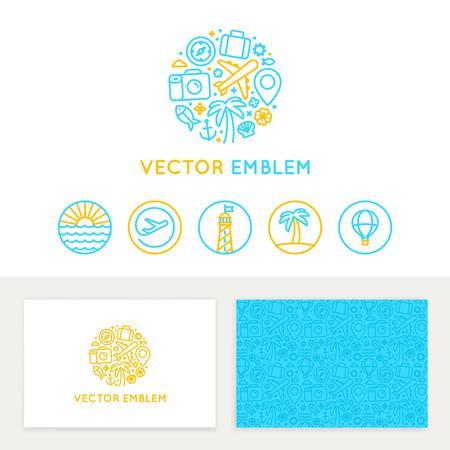 Vector logo template, visitekaartje ontwerp en lineaire emblemen en pictogrammen - reisbureau en gids Logo