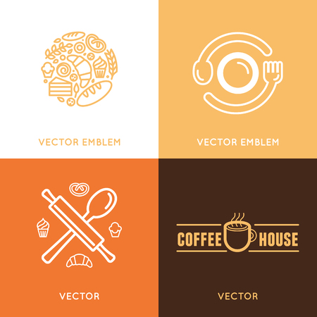 sweetshop: Vector logo design element with icons in trendy linear icons - abstract emblem for bakery, coffee shop, confectionery or sweet-shop - fresh and tasty food