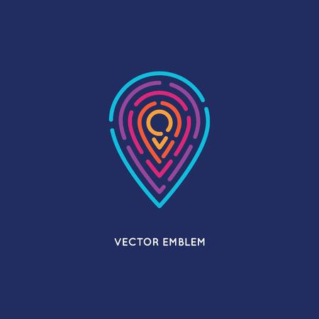 navigazione: Vector logo disegno astratto modello in stile lineare alla moda - posizione e la navigazione concetto di agenzia di viaggi, turismo