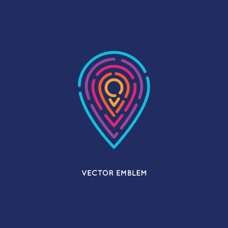 Vector abstract logo design template in trendy linear style - location and navigation concept for travel agency, tourism industry Vectores
