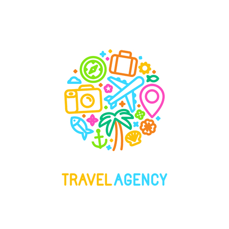 Vektor logotyp mall i trendiga linjär stil med ikoner - resebyrå emblem och guide koncept