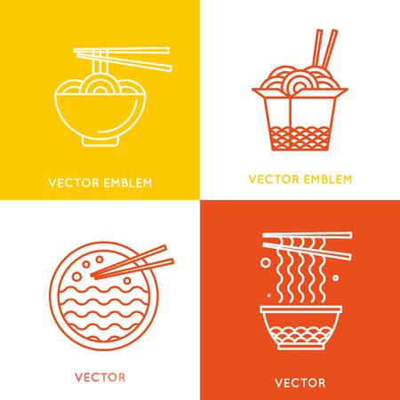 벡터 중국 및 아시아 음식 개념 디자인 요소 - 최신 유행의 선형 스타일의 카페와 음식 배달 그림 일러스트