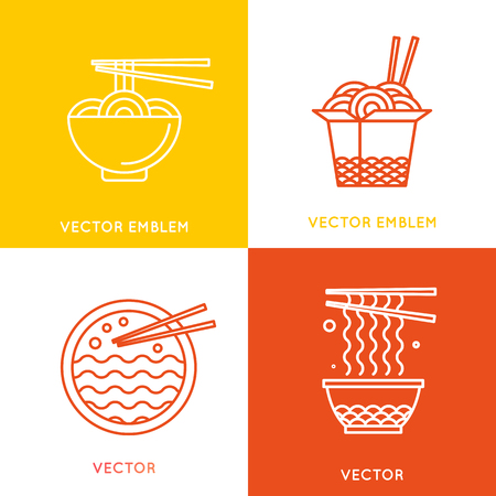 noodles soup: Vector chinese and asian food concepts design elements - cafe and food delivery illustrations in trendy linear style